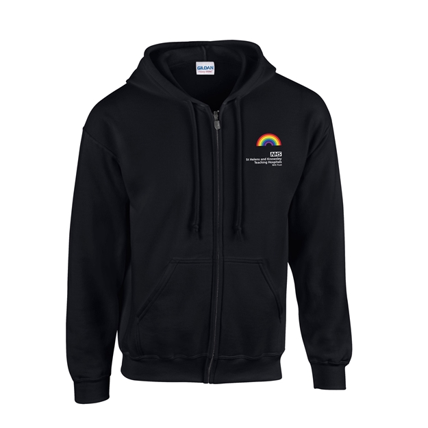 Picture of BLACK UNISEX ZIP HOODY PRE-ORDER AVAILABLE UNTIL THE 8TH OF MARCH, DISPATCH OF ORDER W/C 15TH OF MARCH